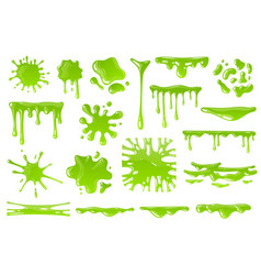 Green cartoon slime goo blob splashes sticky vector