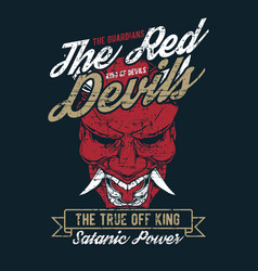 grunge style vintage red devil hand drawing vector image
