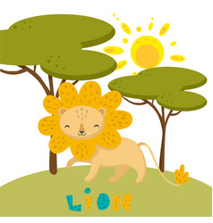 hand drawn of a cute lion in nature vector image