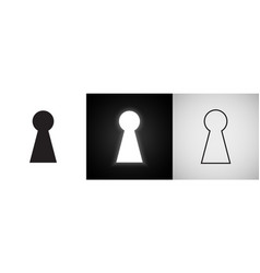 keyhole icons door key hole with light glow vector image