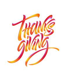 lettering thanksgiving paint texture hand drawn vector image
