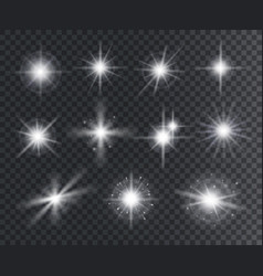light effect white star sparks bright flare vector image