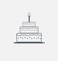 line cake icon minimal flat style vector image