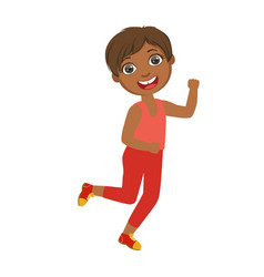 Little happy boy running boy in motion a vector