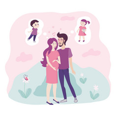Loving young couple with pregnant woman cradling vector