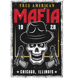 Mafia or gangsters poster with bandit skull in hat vector