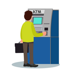 Man withdraws money from an atm vector