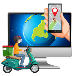 Map and location on electronic devices vector
