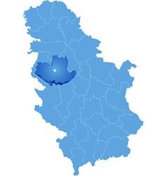 Map of serbia subdivision kolubara district vector