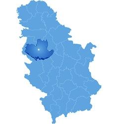 Map of Serbia Subdivision Kolubara District vector