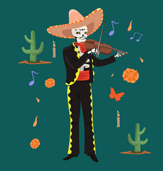 mexican musician skeleton plays violin vector image