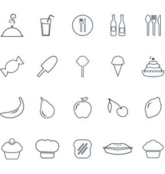 outline food icons set graphic design elements vector image