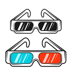 paper 3d glasses in two styles colored and black vector image