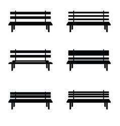 park benches set in black color vector image