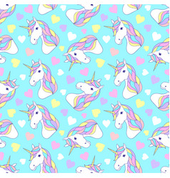 pattern with colorful unicorns vector image