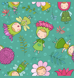 Pattern with cute cartoon flower fairies forest vector