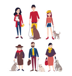 people walking with his dogs of different breeds vector image