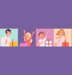 people with gifts surprise characters man woman vector image