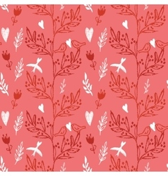 Pink seamless pattern with tree and flying birds vector