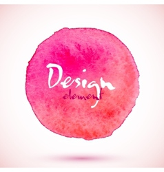 Pink watercolor circle design element vector image