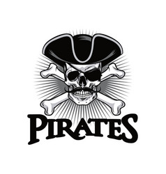 pirate skull with mustache cross bones wears hat vector image