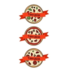 Pizza icons set with ribbons vector image