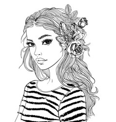 Portrait a young woman with flowers vector