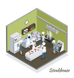 Professional steakhouse kitchen interior vector