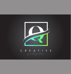 Q letter logo design with square swoosh border vector