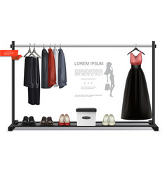 realistic trendy wardrobe colorful concept vector image