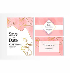 Rose gold watercolor wedding invitation card vector