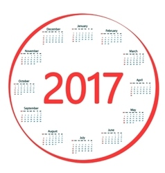 Round the calendar in 2017 vector image