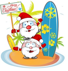 Santa claus cartoon on island beach vector