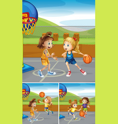 Scenes with girls playing basketball at the courts vector