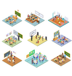 school rooms isometric library dining room vector image