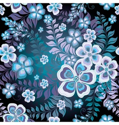 Seamless black and white-blue floral pattern vector