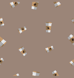 seamless pattern with coffee paper cup vector image