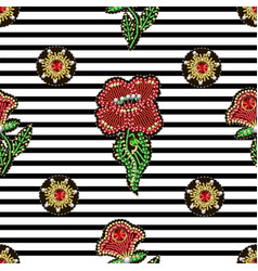 seamless pattern with textile patches flowers vector image