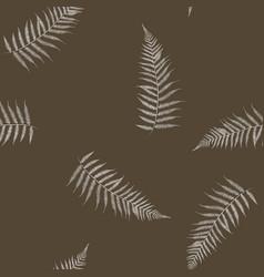 Seamless stylized white fern leaves pattern vector