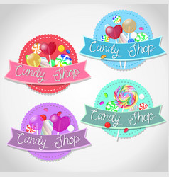 set emblems candy shop isolated emblems on a vector image
