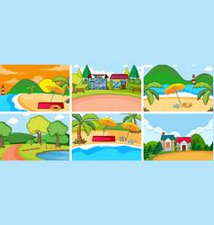 set flat nature background vector image