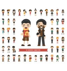 Set of fashion character vector