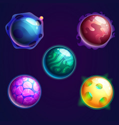 Set of isolated universe planets or cosmos stars vector
