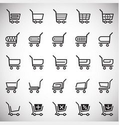 shop cart icons set on white background for vector image