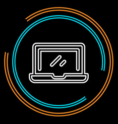 simple laptop thin line icon vector image