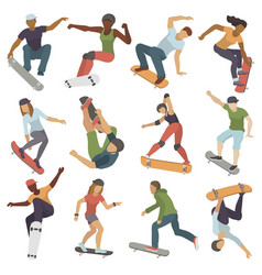 skateboarders people tricks silhouettes sport vector image
