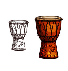 Sketch icon of drum musical instrument vector