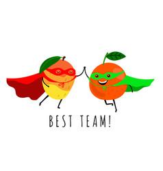 smiling super fruits vector image
