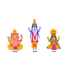 statues indian gods set ganesha vishnu suria vector image