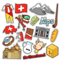 Switzerland travel stickers patches badges vector